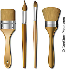 Different type of painting brush set with wooden handle