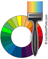 Painting brush and rainbow of color in a vector isolated on...