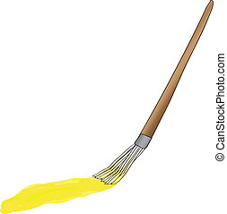 painting brush with yellow paint track vector illustration