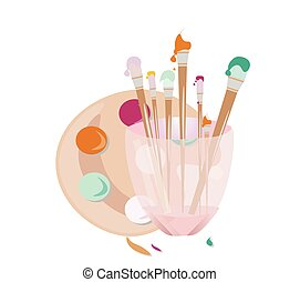 Painting brushes tools Vector illustration art decoration background