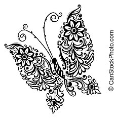 painting butterfly, swirl abstract element design