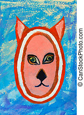 Painting cat - Watercolor painting of a cats head