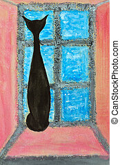 Painting cat - Watercolor painting of a black cat