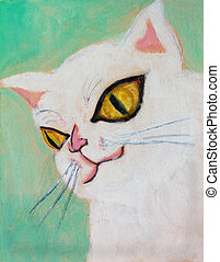 Painting cat - Watercolor painting of a pink cat
