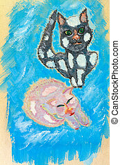 Painting cats - Watercolor painting of a cats