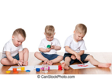 Painting children on the floor