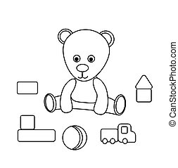 Painting Children's toys. Teddy bear, ball, cubes, car. Contour isolated on white background. Vector illustration of a game for children. Cute coloring book