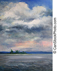 Painting, clouds over the Volga river, Russia