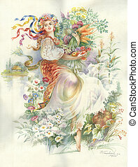 Painting Collection: Harvest - beautiful young girl from...