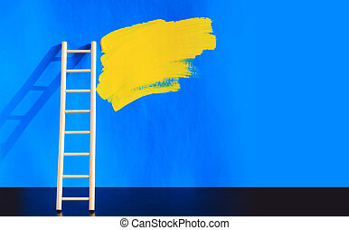 Painting Concept - Painting concept. Wooden ladder near blue...