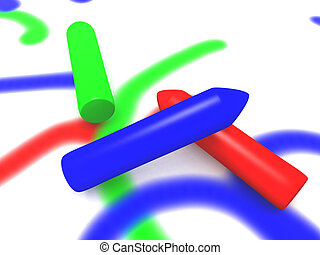 Painting Crayons - 3D rendered Illustration.