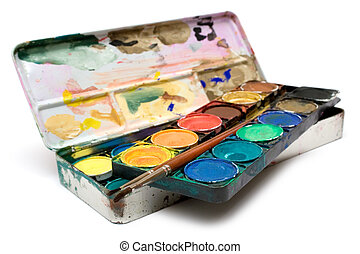 Box of watercolors and a pair of brushes isolated on a white background.