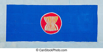 Painting flag of AEC (ASEAN ECONOMICS COMMUNITY)on wall