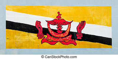 Painting flag of Brunei Darussalam on wall