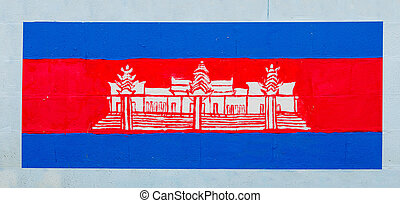 Painting flag of cambodia on wall