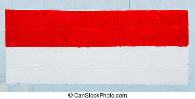 Painting flag of indonesia on wall