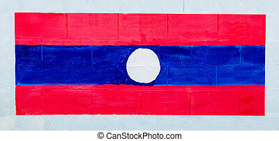 Painting flag of laos on wall
