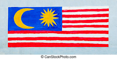 Painting flag of malaysia on wall