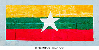 Painting flag of myanmar on wall