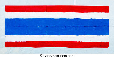 Painting flag of thailand on wall