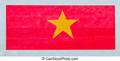 Painting flag of vietnam on wall