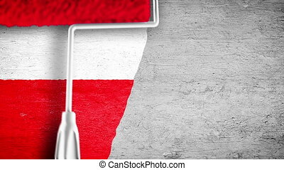 Painting flag on the wall - PL - Roller painting Polish flag...