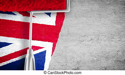 Painting flag on the wall - UK - Roller painting United...