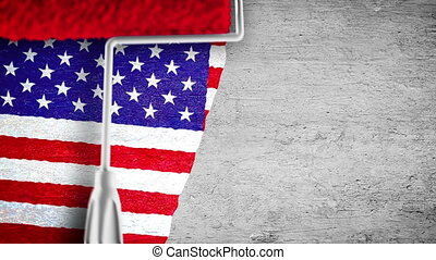 Painting flag on the wall - USA