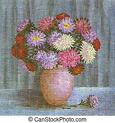 Painting Flowers Asters in a Pot