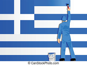 Painting Greece Flag - Illustration of a man figure painting...