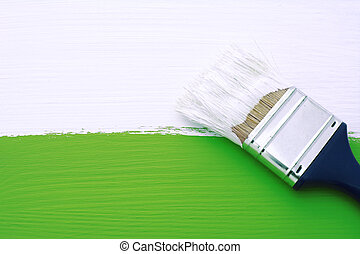 Painting green surface with white paint