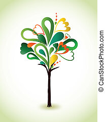 Painting green tree. Vector
