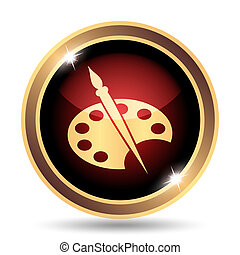 Painting icon. Internet button on white background.