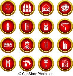 Painting icon red circle set