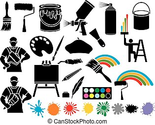 painting icons collection (painter, paint brush, paint ...