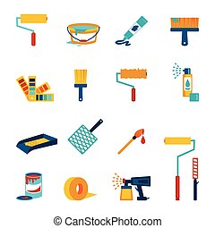 Painting icons flat set with roller bucket brush swatch...