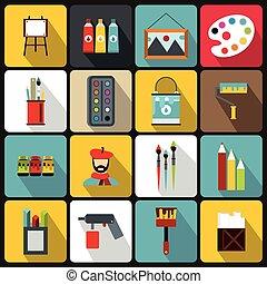 Painting icons set, flat style