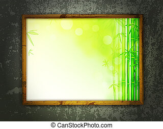 painting in frame at grunge wall