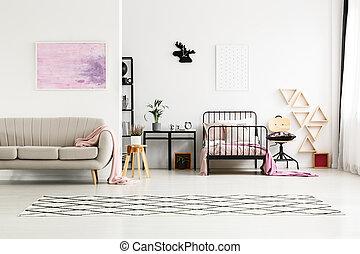 Painting in multifunctional girl's bedroom