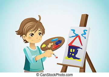 Painting kid - A vector illustration of a kid painting on a...