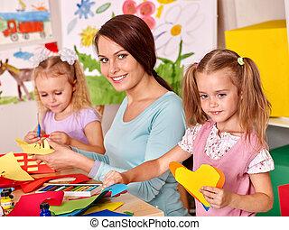 painting., leraar, kinderen