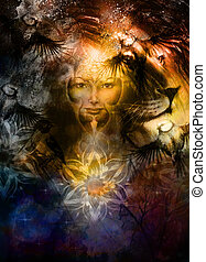 painting mighty lion head, and mystic woman face with bird ...