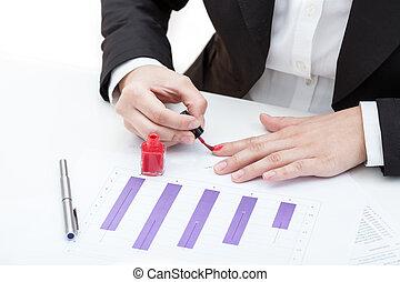 Painting nails at work