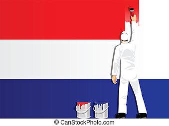Painting Netherlands Flag - Illustration of a man figure...