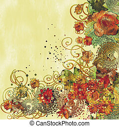 painting of a beautiful floral border with colorful flowers