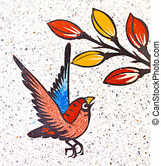 painting of a bird on the wall