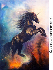 painting of a black unicorn dancing in space - painting on...