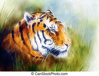 painting of a bright mighty tiger head on a soft toned ...