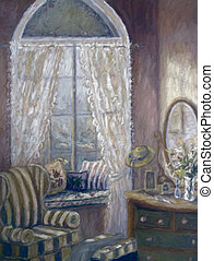 Painting of a child's bedroom, digitally altered