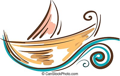 Painting of a colorful boat vector or color illustration